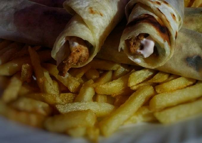 Mayo garlic roll and french fries