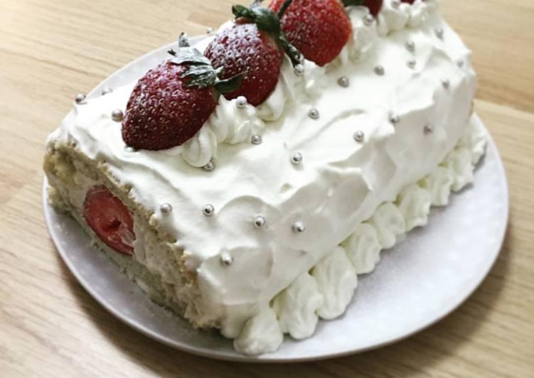 Strawberries Roll-cake for Christmas