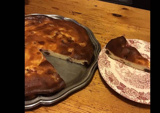 Gâteau au fromage blanc framboises et raisins
