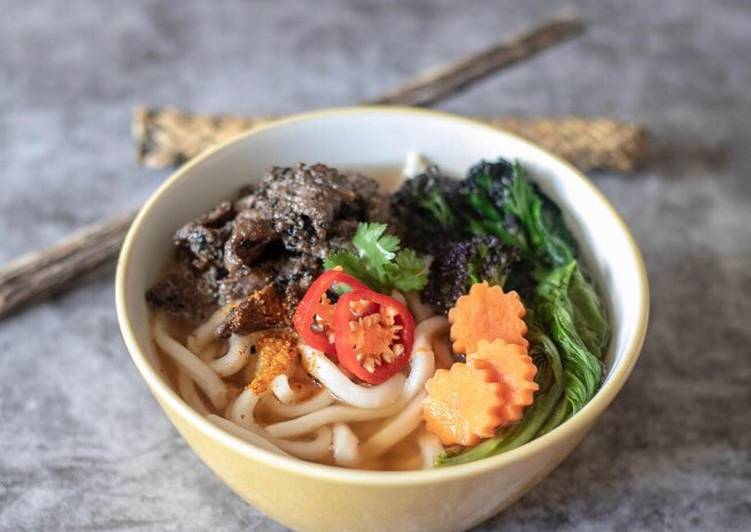 Try Using Food to Boost Your Mood Udon with honey and soy beef with miso broth