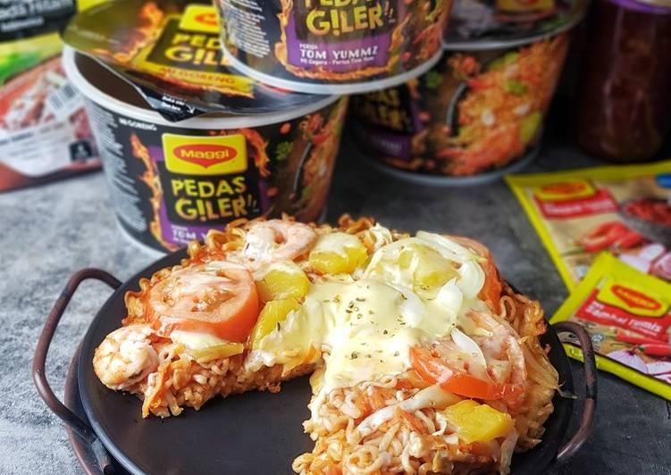Resepi:  Piza Seafood Maggi Simple