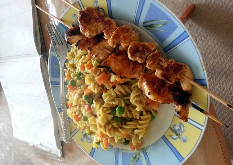 Recipe of Speedy creamy pasta with mixed vegetables and grilled chicken