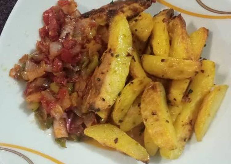 Oven Roast Potatoes with pepper sauce