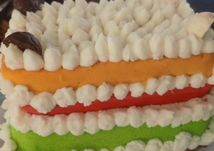 Resep Rainbow Cake Polosan Oleh Dapur Mama Nahla Cookpad