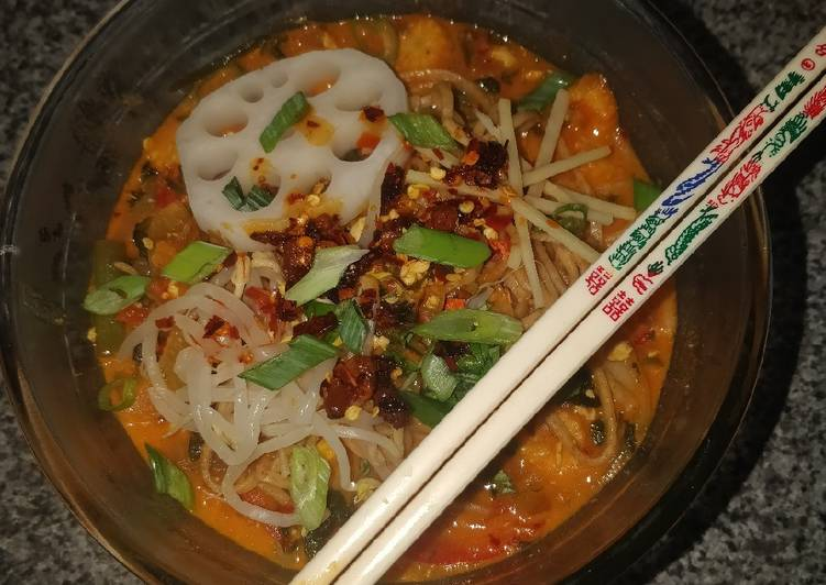 Step-by-Step Guide to Prepare Favorite Gochujang and coconut noodle soup (vegan)