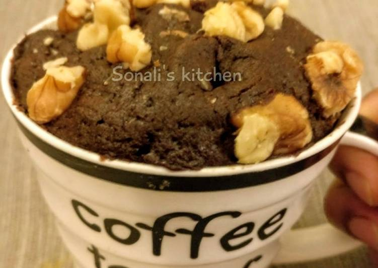 Recipe of Any-night-of-the-week Chocolate walnut Mug Cake in Microwave
