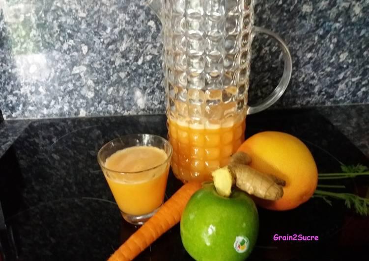 Jus de pomme, carotte, orange et pamplemousse