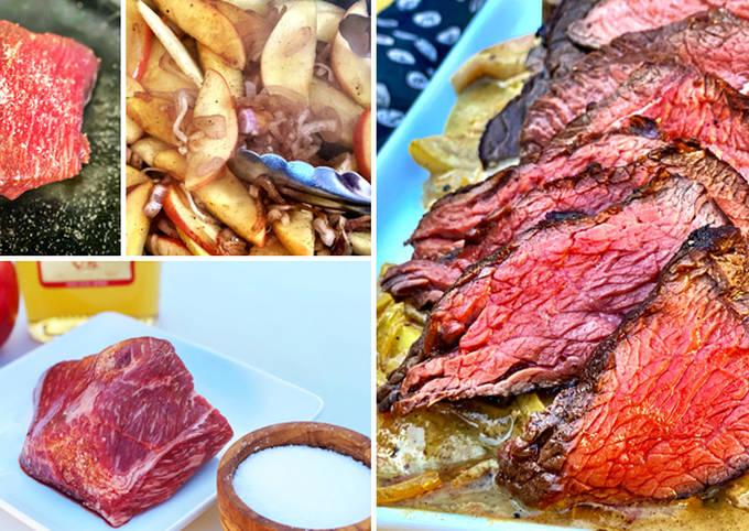 Seared Fullblood Wagyu Top Sirloin Steak with Apple-Brandy Pan Sauce