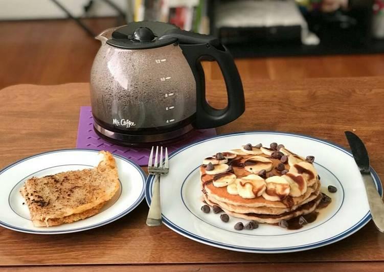 Chocolate Banana Pancakes And Hash browns
