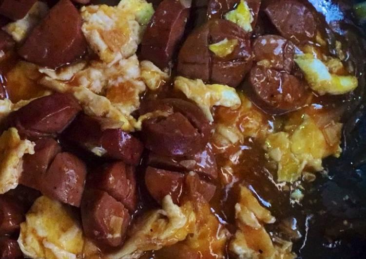Resep BBQ sausages & scrambled eggs Paling Joss