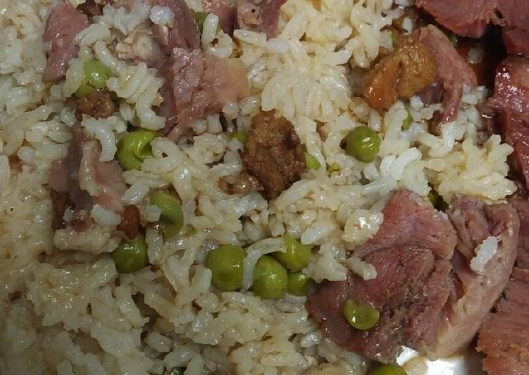 Roasted Rice, Peas, and Ham