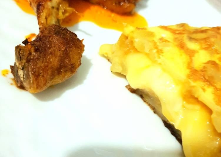 🥔🍗Tortilla raclette accompagnée de poulet paprika 🍗🥔