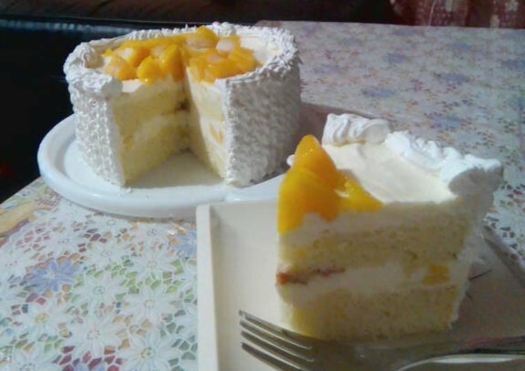 Simple Way to Make Any-night-of-the-week Mango Cake using Pancake Mix
