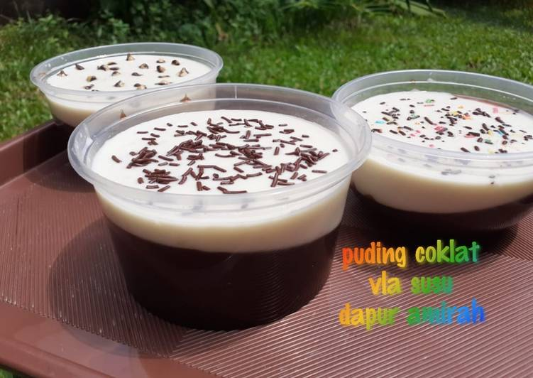 resep cara buat Puding coklat vla susu