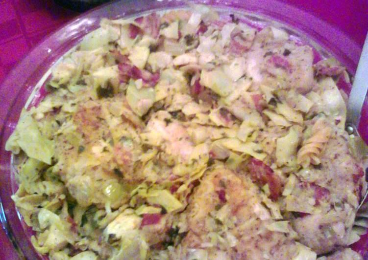 Recipe: Tasty Chicken & Artichokes over pasta