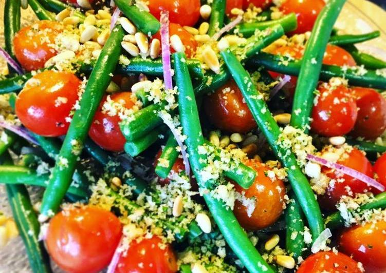 Green Bean & Semi Roasted Cherry Tomato Salad with Zesty Walnut & Sourdough Gremolata