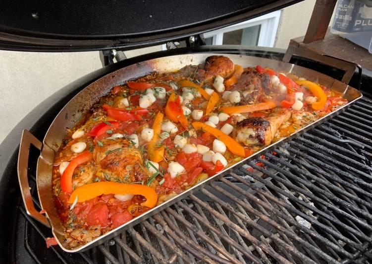 Paella sur BBQ au charbon