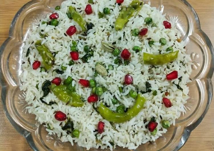 Recipe of Homemade Palak Peas Rice