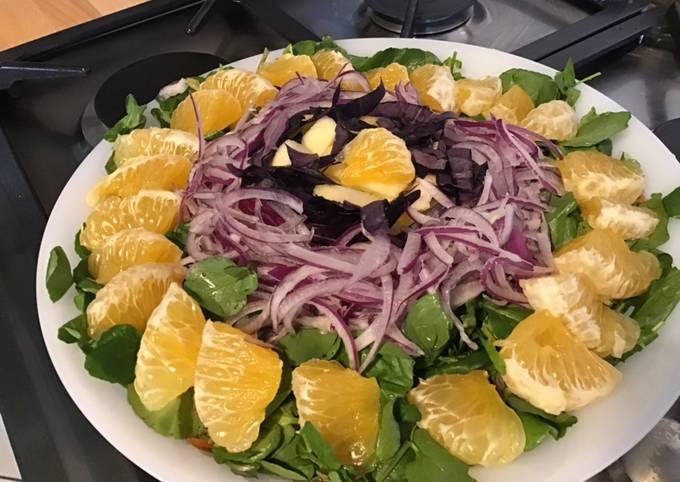 Salade de cresson à l ugli,pomme,oignon rouge et basilic pourpre