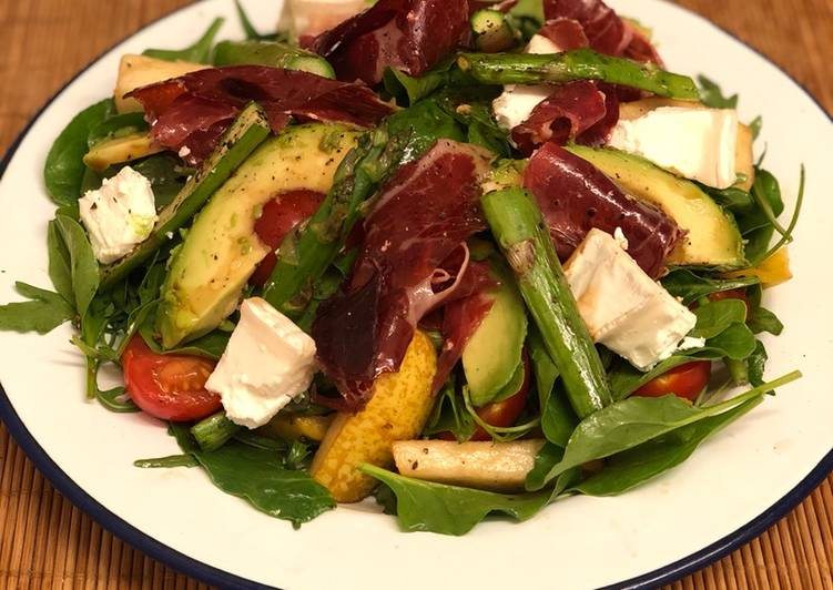 Jamon iberico, asparagus, pear and goats cheese salad