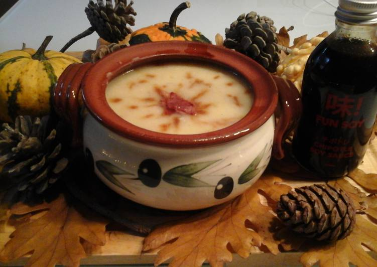 Potato Soup with Chipotle Soy Sauce