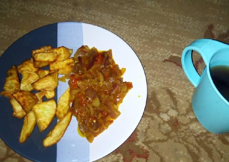 Sweet potato with sauce