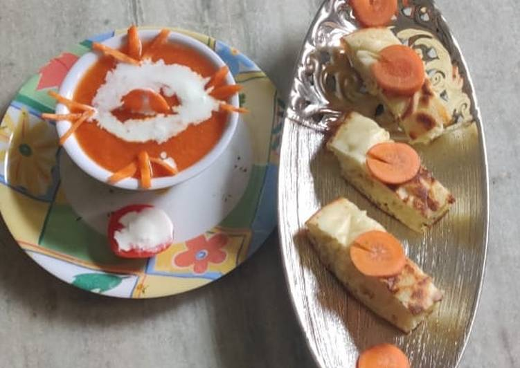 Roasted carrot soup with pav