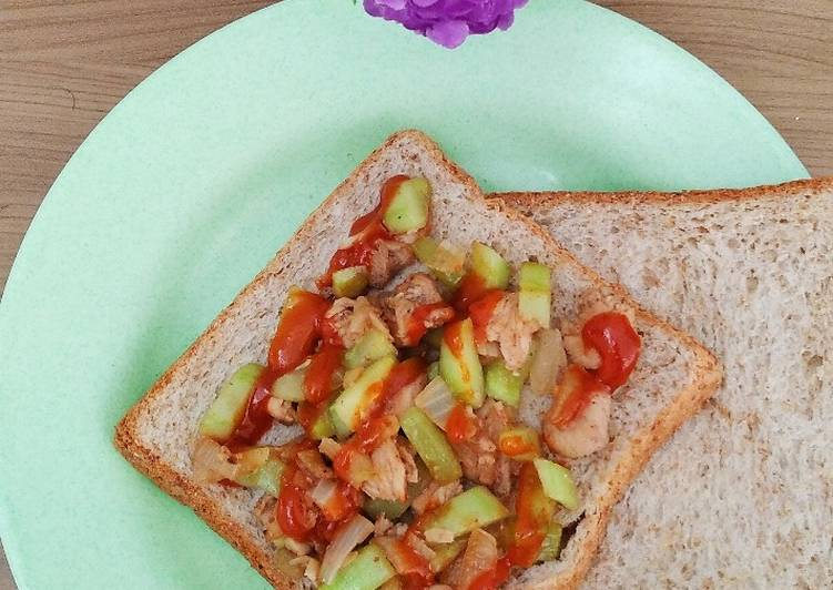 Resep Sandwich roti gandum ayam popcorn teflon, Bikin Ngiler