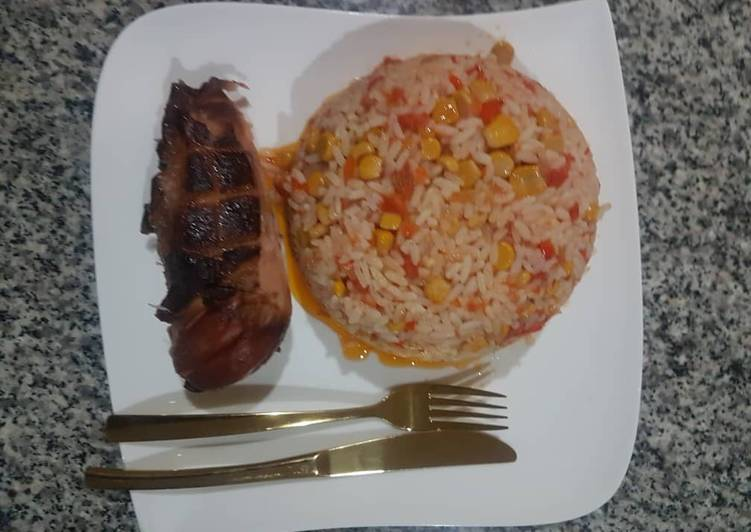 Special jollof and roasted chicken Finding Healthy Fast Food
