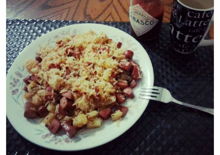 Fried Rice with Weiners & Potatoes
