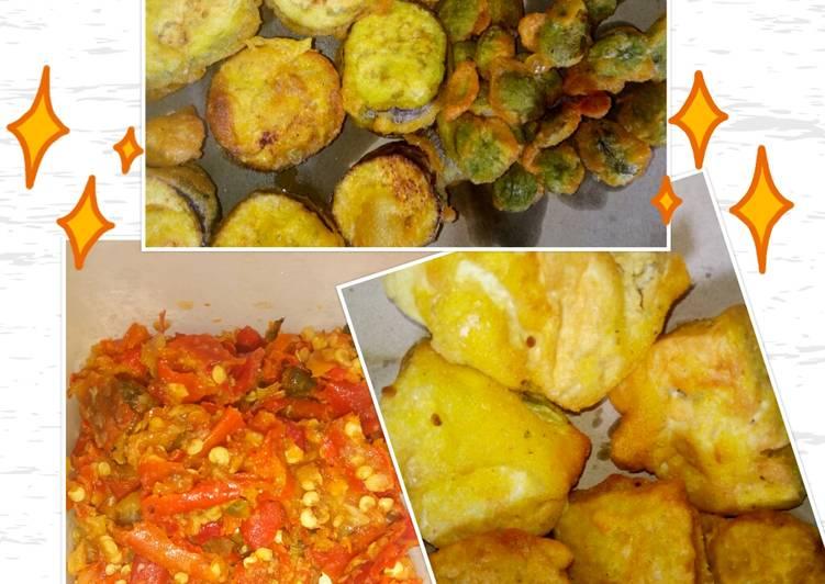 Terong, pete, tahu, tempe goreng tepung crispy + sambal bawang