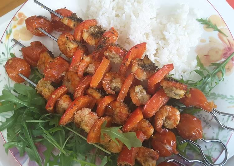 Brochettes de crevettes tigrées citronnées