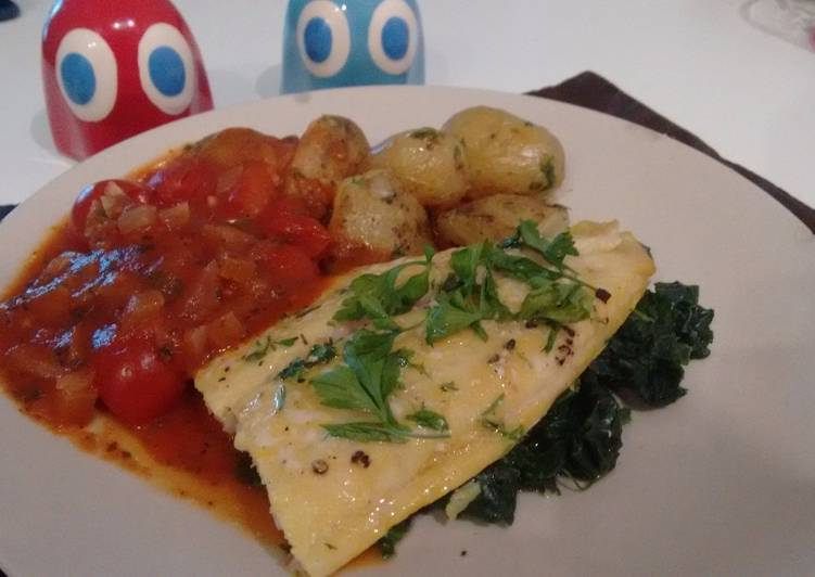 Recipe of Super Quick Homemade Smoked River cobbler fillets with a cherry tomato sauce