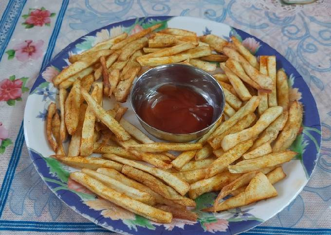 Crispy sweet potatoes spicy french fries