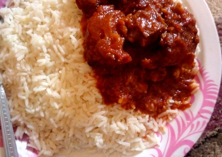 Recipe of Top-Rated White rice,Tomato stew and meat