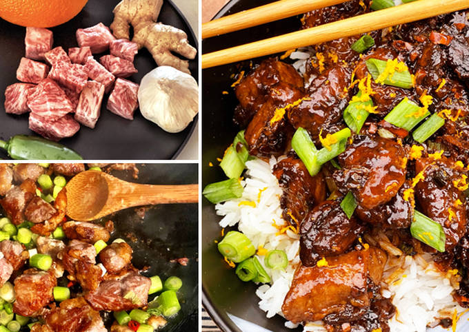 Spicy Orange Miyazakigyu Wagyu Beef Cubes and Jasmine Rice