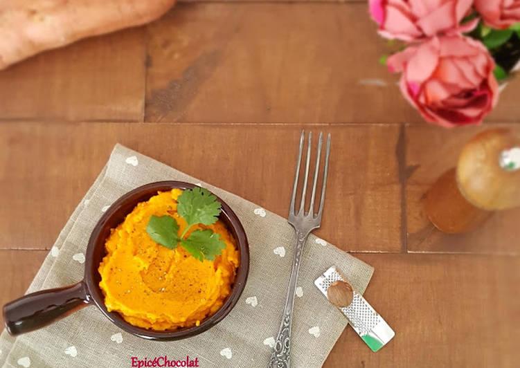 Purée de patate douce, carotte et orange