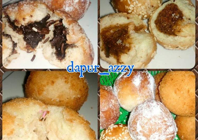 Roti Goreng/Donat Isi 3 Rasa (Keju, Abon & Cokelat)
