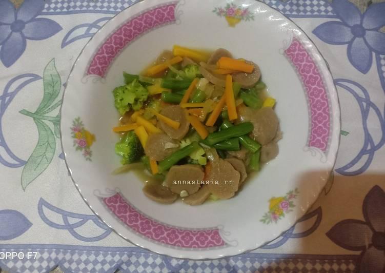 Tumis brokoli,wortel,baso saos tiram
