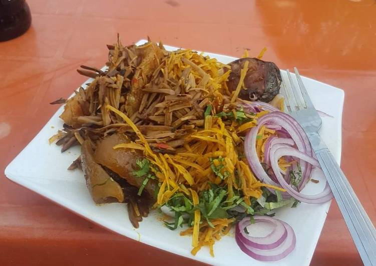 Easy Comfort Dinner Easy Speedy Abacha with ugba and pomo and fish