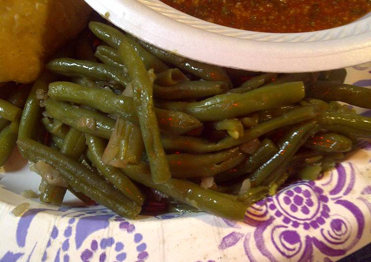 Fried green beans and onions