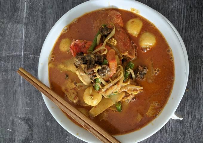 Langkah Mudah untuk Membuat Mee Kari Ala Nyonya / Penang Curry Noodle yang Menggugah Selera