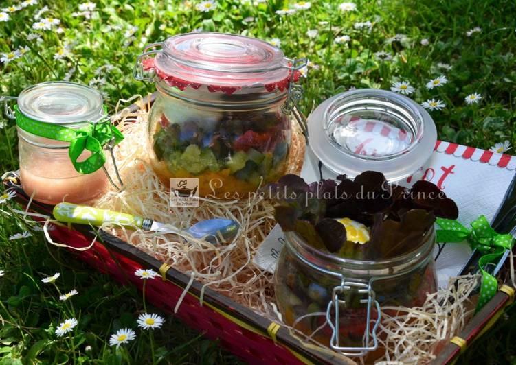 Salade de ratatouille et oeuf mollet en bocal