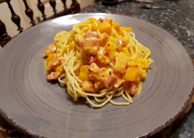 Spaghetti au butternut et lard fumé