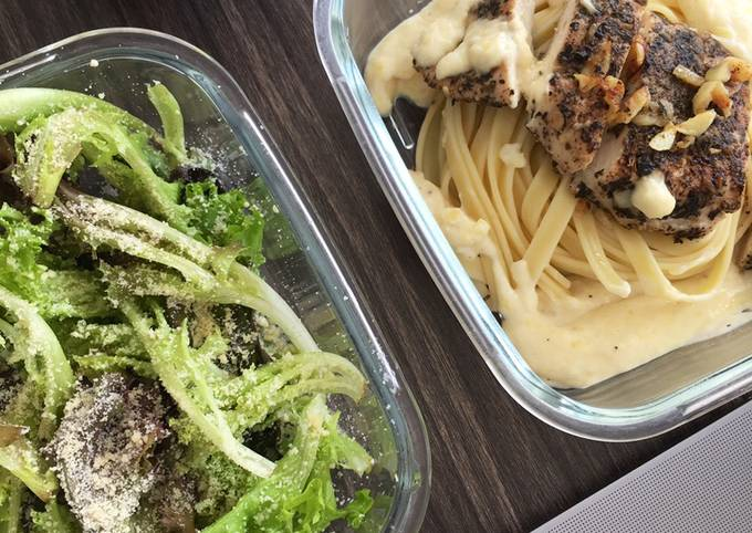 Chicken Basil Alfredo Pasta and Salad