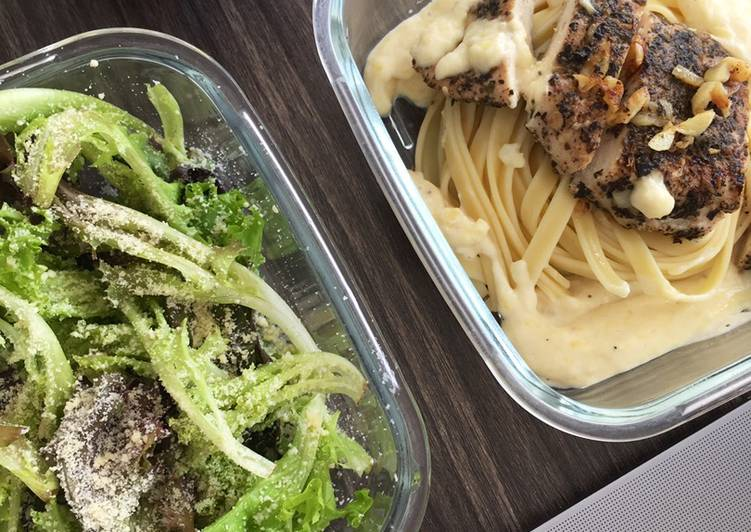 Chicken Basil Alfredo Pasta and Salad