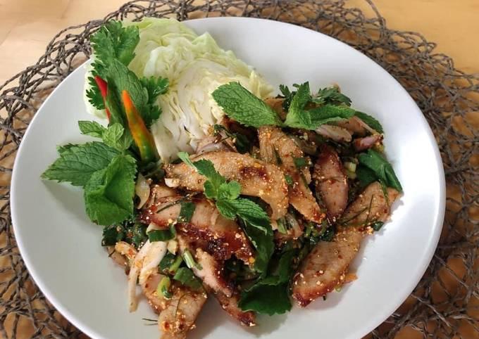 Spicy Thai Salad • Thai Grilled Pork Salad • Nam Tok Moo  ThaiChef food