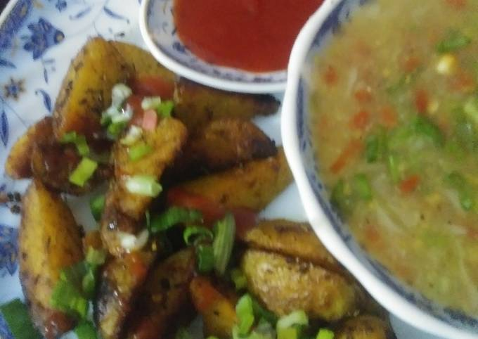Roasted potatoes with soup