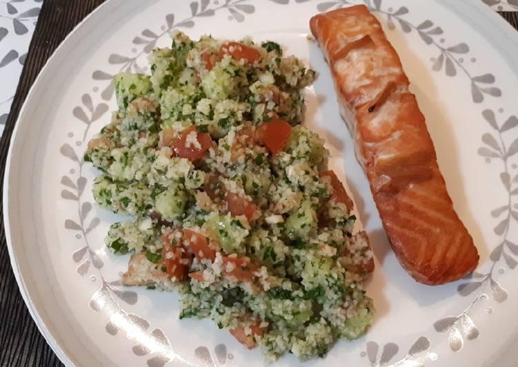 Tabbouleh con salmón teriyaki