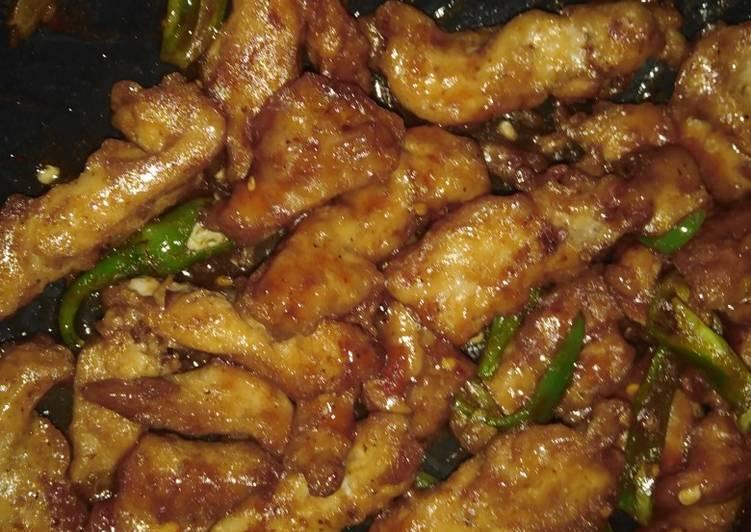 Dry chicken chilli
